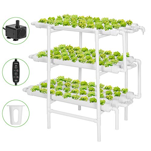 VIVOSUN Hydroponic Grow Kit, 3 Layers 108 Plant Sites 12 PVC Pipes Hydroponics Growing System with Water Pump, Pump…