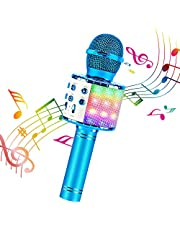 ShinePick Bluetooth Karaoke Wireless Microphone, 4 in 1 Karaoke Machine Portable Microphone for Kids, Home KTV Player, Compatible with Android & iOS Devices (Blue)