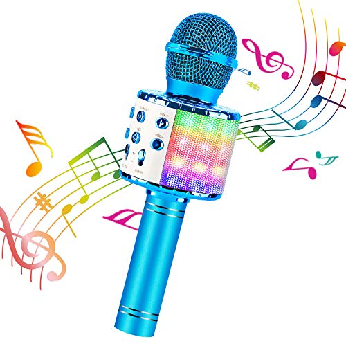 ShinePick Bluetooth Karaoke Microphone, 4 in 1 Wireless Microphone Handheld Portable Karaoke Machine, Home KTV Player, Compatible with Android & iOS Devices(Blue)