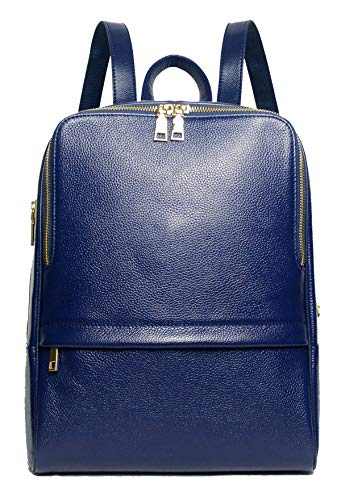 Coolcy Hot Style Women Real Genuine Leather Backpack Fashion Bag (Royal Blue)