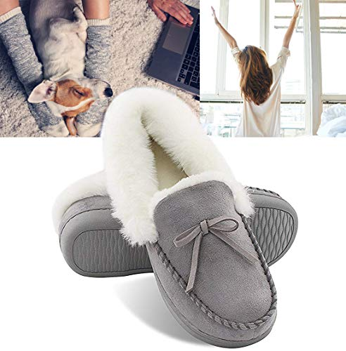 HomeIdeas Women's Faux Fur Lined Suede Comfort House Slippers, Anti-Slip Winter Indoor/Outdoor Moccasin Shoes (9 B(M) US, Gray)