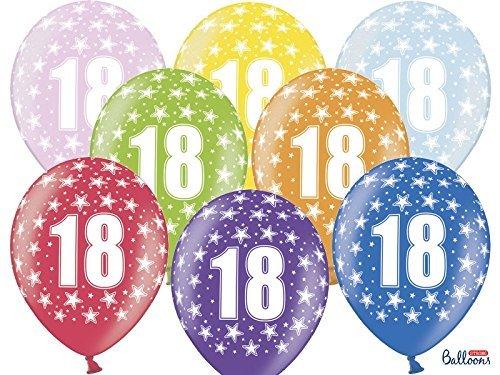 6 PEZZI Palloncini LATTICE 30 CM numero 18 ANNI diciottesimo compleanno by Party Deco