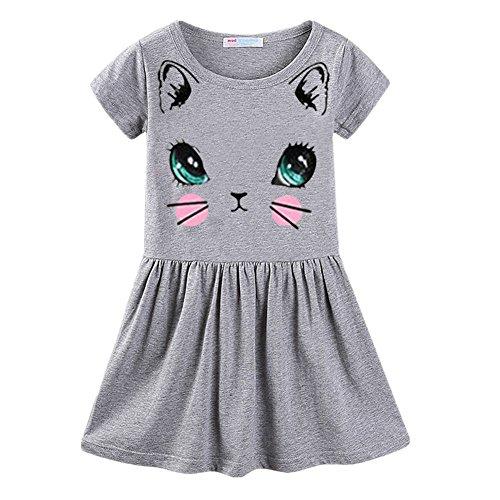 LittleSpring Little Girls' Dresses Summer Cat Printing Size 7 C-Grey -