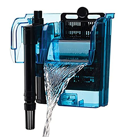 Penn Plax Cascade Hang-on Aquarium Filter With Quad Filtration System Cleans Up to 10 Gallon Tank