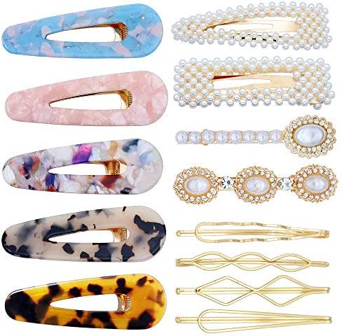 13 Pcs Hair Clips for Women Ladies Artificial Pearl Snap Clips Alligator Clips Acrylic Hair Barrettes Gold Bobby Pins Hair Accessories for Daily Party Wedding