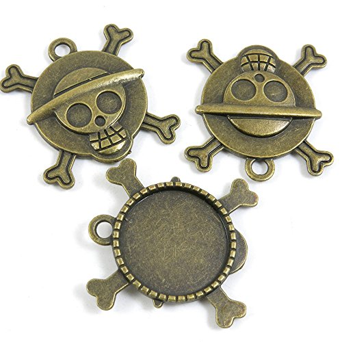20 PCS Jewelry Making Charms Ancient Antique Bronze Fashion Jewelry Making Crafting Charms Findings Bulk for Bracelet Necklace Pendant A03098 Pirates Skull Cabochon Setting Blanks