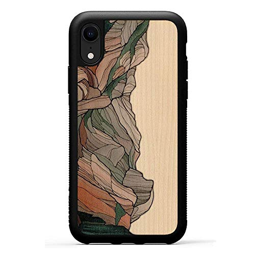 - Carved | iPhone XR | Luxury Protective Traveler Case | Unique Real Wooden Phone Cover | Rubber Bumper | Half Dome Print