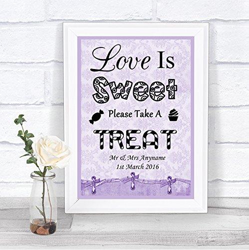Lila Shabby Chic Love Is Sweet Candy Bar carro bufé boda señal personalizada, Large A3: Amazon.es: Oficina y papelería