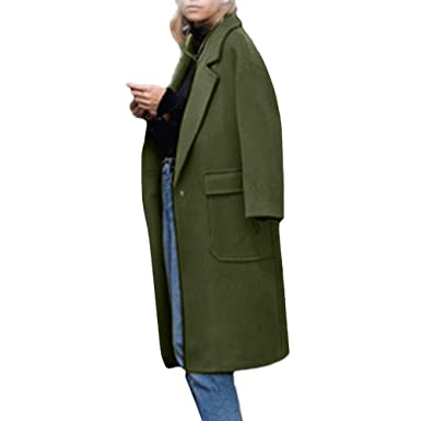 7247c702957 Specials! Womens Winter Lapel Wool Coat Trench Jacket Big Pocket Cashmere  Long Sleeve Overcoat Outwear