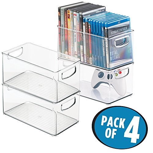 mDesign Stackable Household Storage Organizer Container Bin for DVDs, PS4, Nintendo and Xbox Video Games, Controllers and Head Sets - Pack of 4, Medium, Clear (Media Storage Set Cabinet)