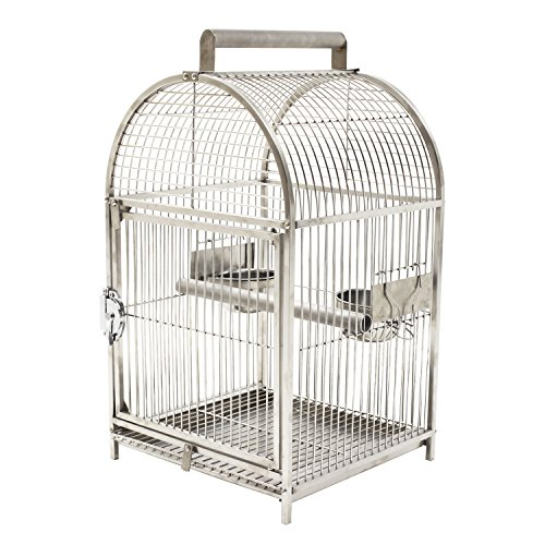 Pawhut-25-Dome-Top-Stainless-Steel-Travel-Bird-Cage