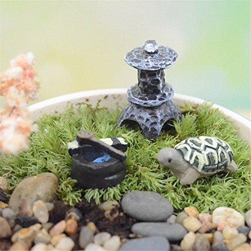 COOLTOP Miniature Fairy Garden Dollhouse Miniature Plant Pots Bonsai Craft Micro Landscape DIY Decor Set (tortoise set)