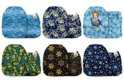 Mama Koala One Size Baby Washable Reusable Pocket Cloth Diapers, 6 Pack with 6 One Size Microfiber Inserts (Snow World)