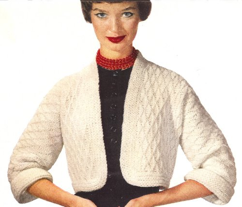 Bolero Diamond (Vintage Crochet PATTERN to make - Bolero Short Jacket Sweater in Diamond Pattern. NOT a finished item. This is a pattern and/or instructions to make the item only.)