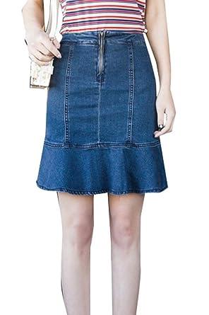 Mini Falda Vaquera De Verano Falda De Estiramiento De Mode De ...