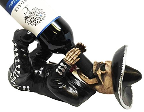 ATL Ebros Dias De Los Muertos Day Of The Dead Traditional Mariachi Singer Skeleton Wine Holder Figurine Gothic Ceremonial Kitchen Decor