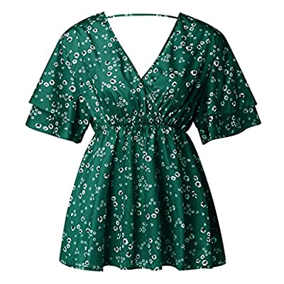 Curviel Women Floral Belted Shirt Plus Size Sexy Batwing Short Sleeve Pullover Blouse Summer Spring Clothing: Clothing