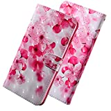 HMTECH for LG K8 2017 Case 3D Luxury Pink Cherry Flower PU Leather Wallet Flip Stand Card Holder Bookstyle Magnetic Cover Compatible with LG K8 2017,Pink Cherry