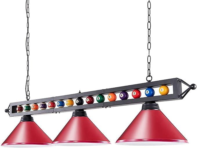 Wellmet Lámpara de billar con 1,5 metros y 3 luces, pantalla de ...