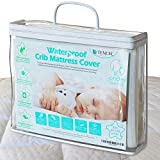 Organic all natural Jacquard & Quilted TENCEL crib mattress pad 100 % waterproof breathable hypoallergenic fitted & washable 52x28x9in. soft padded for baby toddler cover topper protector