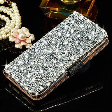 Fundas y estuches para teléfonos móviles, cubierta de la caja de cristal de diamante carpeta de la tarjeta del tirón de lujo de Bling para el iphone 6s 6 más ( Color : Oro , Modelos Compatibles : IPho Negro