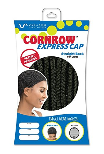 [Vivica A Fox Hair Collection Cornrow Express Cap, Straight Back Type with Combs, 1B, Medium, 2] (Cornrow Wigs)