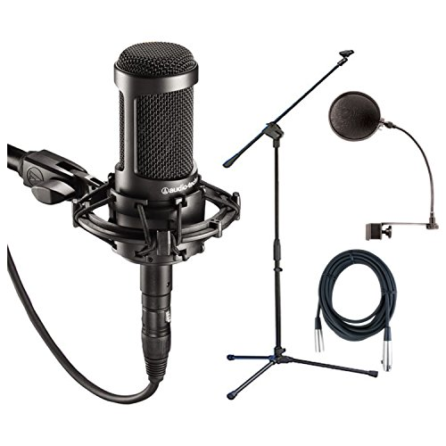 Audio Technica AT2035 Condenser Mic + Pop Filter + Mic Stand + XLR Cable