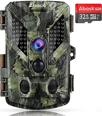 Abask Trail Game Camera, 16MP 1080P Wildlife Hunting Camera with IP67 Waterproof, 3 Infrared Sensors 48Pcs LEDs Night Vision Motion Activated 2.4 LCD Screen with 32G Card