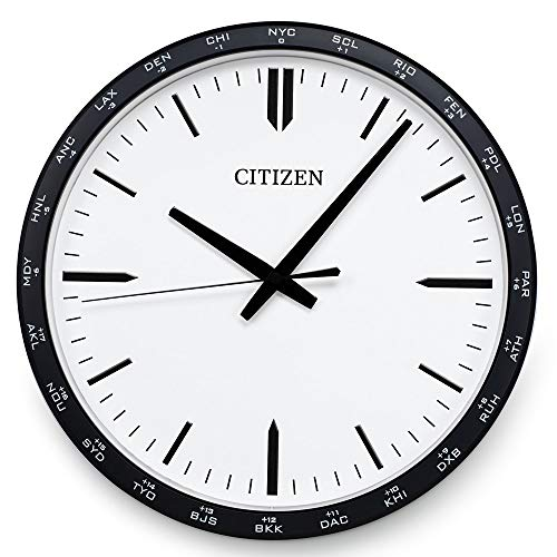 (Citizen Wall Clock World Time Zone on Bezel White Dial CC2006)