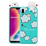 3D Cartoon Case for Xiaomi Redmi Note 5 Pro,Yobby Xiaomi Redmi Note 5 Pro Cute Kawaii Pattern Case Slim Soft Flexible Rubber Silicone Shockproof Protective Back Cover-Light Blue Clouds