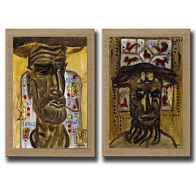 XGHC 2 Panels Oil Painting Abstract Face Wall Art Pictures Hand Painted On Natura Linen With Stretched Frame Ready To Hang , with stretched frame , 24
