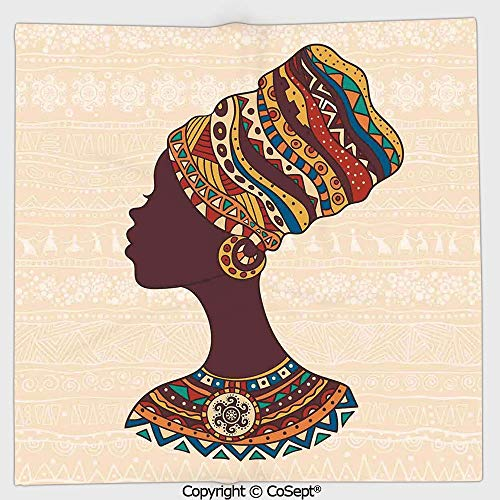 AmaUncle Lightweight Square Towel,African Woman in Traditional Ethnic Fashion Dress Portrait Glamour Graphic,for Adults Girls Boys Women Men(9.84x9.84 inch),Cream Brown