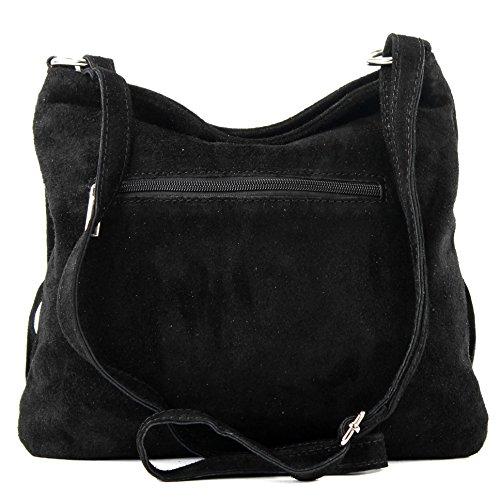 Frans señoras bolsa Negro de del cuero de Bolso las bolso gamuza bolso Ital T125 de PvqIgnS4