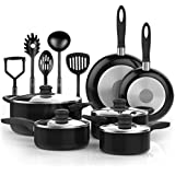 Vremi 15 Piece Nonstick Cookware Set; includes 4 Pots with 4 Lids, 2 Pans and 5 Kitchen Utensils; Cool Touch Handles, Oven Safe, PTFE and PFOA-Free