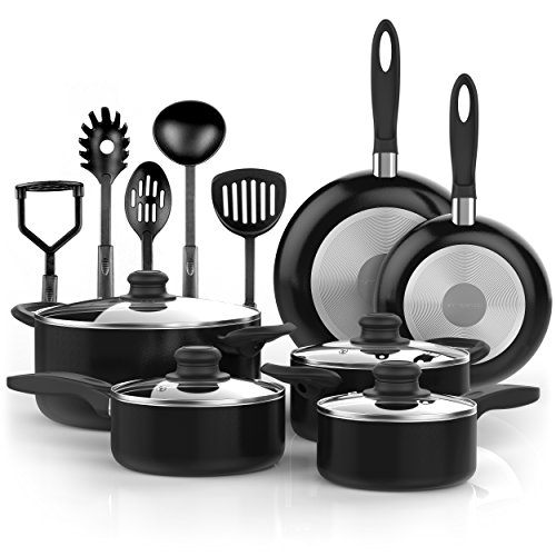 Vremi 15 Piece Nonstick Cookware Set; 2 Saucepans and 2 Dutch Ovens with Glass Lids, 2 Fry Pans and 5 Nonstick Cooking Utensils; Oven Safe Aluminium Set