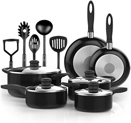 Vremi 15 Piece Nonstick Cookware Set - Kitchen Pots and Pans Set Nonstick with Cooking Utensils - Non Stick Cookware Set PTFE and PFOA Free Oven Safe Basics Pots and Pans - Black