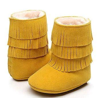 FidgetFidget Multi-layered Tassels Boots Newborn Baby Girls Soft Crib Sole Prewalker Shoes