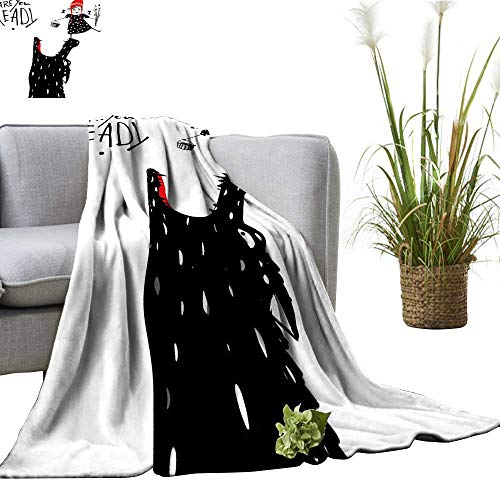 YOYI Bed Blanket Print Little Riding Hood Girl and Wolf Black Red and White Comfortable Home Decor 60