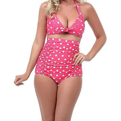 sotw 50s Pinup Flora diseño de lunares Retro de bañadores de bañadores biquini de talle alto Pink and White Polka Dot