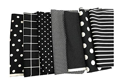Amornphan 100% Printed Black Series Cotton Bundles Quilting Fabric for Patchwork Needlework DIY Handmade Sewing Crafting Precut 25x25 cm. Set of 7 Pieces