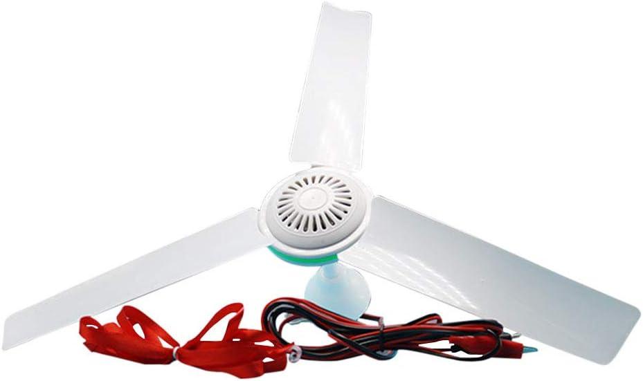 XuBa 12 V CC, bajo Voltaje, regulación de Velocidad sin Niveles, Mini Ventilador de Techo para protección contra Moscas, 12v Ceiling Fan + 2.5 M Clip Line, 12v Ceiling Fan + 2.5 m Clip Line