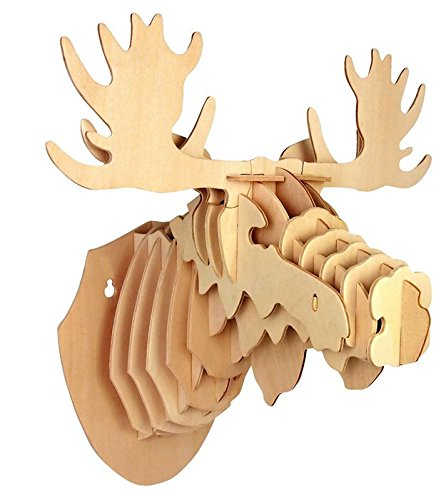 Moose Head 3D Wooden Construction Puzzle Kit (Moose Wooden)