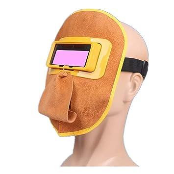 m/áscara de protecci/ón de soldadura M/áscara de protecci/ón de casco de soldadura transpirable de cuero duradero con lente Casco de soldadura