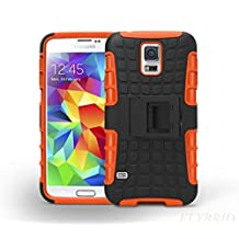 S5 Case,Galaxy S5 Case,Super Protective Samsung Galaxy S5 Case-SHOCK ABSORPTION/HIGH IMPACT RESISTANT Dual Layer Hard Plastic Heavy Duty Defender Case Cover for Samsung Galaxy S5 Case (Orange)