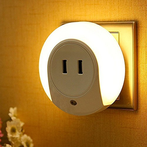 LED Night Light with Automatic Dusk to Dawn Sensor and 5V 2A Dual Port USB Wall Plate Charger Perfect for Baby Room Bathroom Bedroom Hallway Kitchen(Warm White)