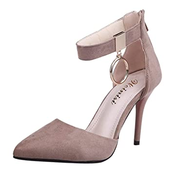 Womens Pumps Solid Suede Leather Pointy Toe Heel Buckle Ankle Strap Party Shoes