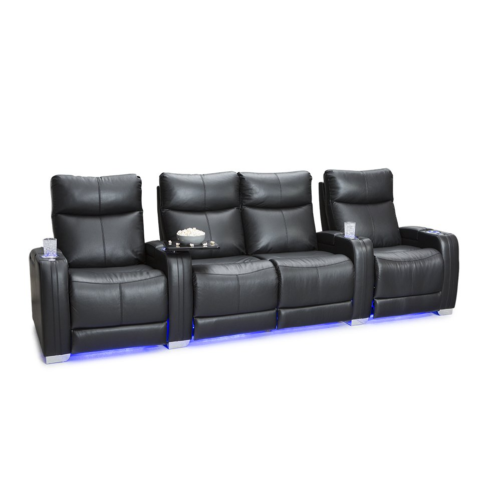 Seatcraft Solstice Leather Home Theater Seating with Power Lumbar, Recline, and Headrest (Row of 4 Loveseat, Black) by SEATCRAFT