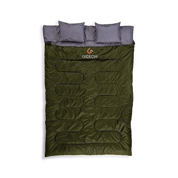 Gideon Waterproof Double Sleeping Bag with 2 Pillows - Amazingly Lightweight, Compact, Comfortable & Warm - for Backpacking, Camping, etc. Double Size or Convert into 2-Single Bags 3