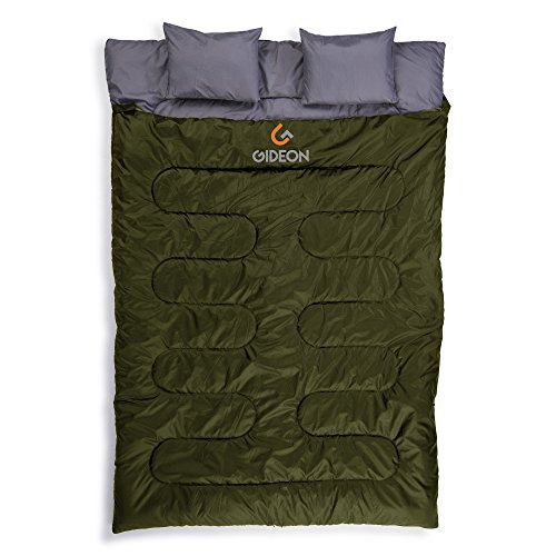 Gideon Extreme Waterproof Backpacking Double Sleeping Bag with 2 Pillows – Amazingly Lightweight, Compact, Comfortable & Warm – For Backpacking, Camping, etc. Double size or Convert into 2-Single