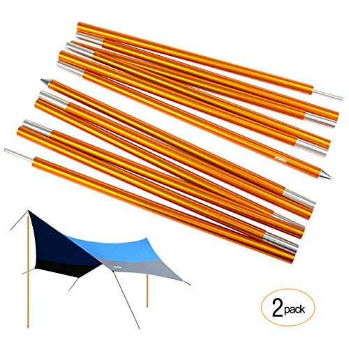 Overmont Tarp Poles Adjustable Telescoping Aluminum Tarp and Tent Poles, Collapsible Lightweight Poles for Camping, Backpacking, Hammocks, Shelters, and Awnings (Pack of 2) 7.2ft Each